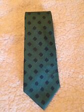 CHRISTIAN DIOR MEN'S NECK TIE TEAL WITH WHITE DOTS & BLUE DIAMOND PATTERN