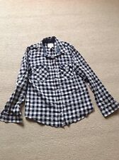 Forever 21  Long Sleeve Checked Shirt Size Small Navy/white