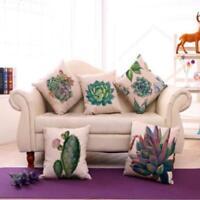 Retro Cactus Succulent Plants Cotton Linen Pillow Case Throw Cushion Cover hot