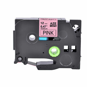 1PK Compatible Brother P-Touch Satin Ribbon TZe TZ-RE31 Black On Pink Tape