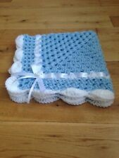 Baby Boy Blanket Cover Crochet Blue And White