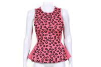KENZO Pink Floral Black Magenta Peplum Sleeveless Top size XS