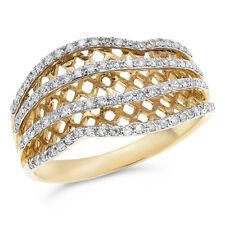 Diamond Cocktail Mesh Right Hand Ring Wide 14K Yellow Gold Pave Round