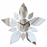 Mirror Acrylic Wall Clocks Floral Patterned Home Living Room Bedroom Decorations
