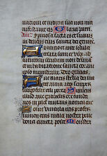 STUNDENBUCH BLATT PERGAMENT LATEIN 13 INITIALEN GOLDGEHÖHT BELGIEN BRÜGGE 1450