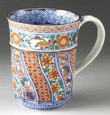 Yunomi Kyo Kiyomizu yaki Japanese Mug Tea Coffee cup Handle Aka-e Neji Komon