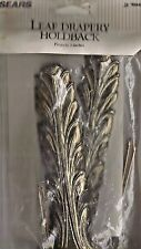 """VTG """"NEW"""" OLD STOCK SEARS SET OF 2 BRASS LEAF DRAPERY HOLDBACKS--PROJECTS 3 IN"""