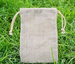10 X Jute Hessian Drawstring Pouch Gift/Party Favour Bag *Special offer