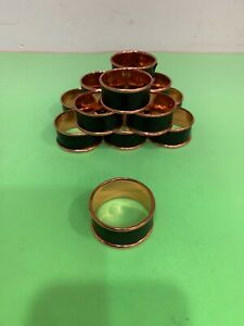 Vintage Copper Napkin Rings Holder  With Leather Inlay 1-3/4'' Diameter.