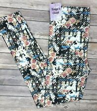 PLUS Size Floral Leggings Vintage Black Blue Peach Print Soft Curvy 10-18
