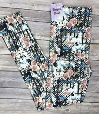 PLUS Size Floral Leggings Vintage Black Blue Peach Print Soft Curvy 10-18