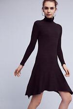 NWT ANTHROPOLOGIE Loriona Turtleneck Dress by Dolan Black Ribbed Knit Sz XL $138