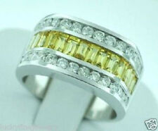 3.95 ct 14k Solid White Gold Men's Natural Diamond Yellow Sapphire Ring Baguette
