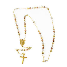 Gold Layered 3 Tone Visible Beads Rosary - Style3
