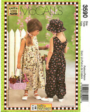 McCalls 3590 Mary Engelbreit Girls Dress Jumpsuit Hat Sewing Pattern