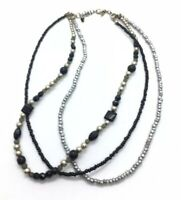 Vintage Silver Tone and Black Multi Strand Bead Necklace Signed Premier Designs