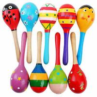 Wooden Maraca Rattles Baby Kids Educational Musical Shaker Instrument M8D6 N8A7