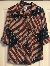 Vintage Leslie Fay American Flag Red White Blue Blouse Size 16W