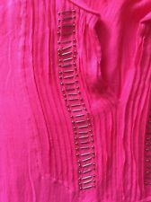 Kookai Vibrant Pink Lined Dress / Top  with sleeves   Size label 38  - 10/12