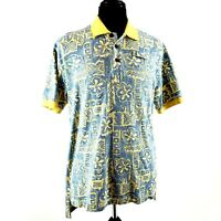 Orvis Mens Polo Shirt Short Sleeve LARGE Hibiscus Floral Yellow White Blue