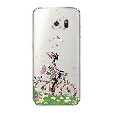 Coque gel souple incassable motif fantaisie pour Galaxy S6 EDGE  ( Fille à vélo)
