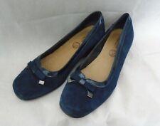 LASOCKI Women's navy Leather suede Shoes wedge heel Size 8