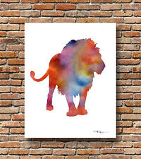 Lion Abstract Watercolor Wildlife Painting 11 x 14 Art Print by DJR