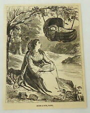 1881 magazine engraving~HUSH-A-BYE BABY~woman watches over baby asleep in swing