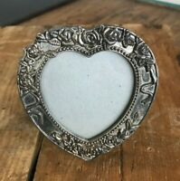 "Vtg Antique Silver Floral Embossed Victorian Style Heart Picture Frame 4"" x 3.5"""