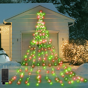 Outdoor Christmas Decorations Star Lights 344 Led Fairy Red And Green Gift Xmas
