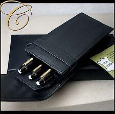 Etui für 3 Schreibgeräte / Stifte * SCHWARZ | NAPPA LEDER * Pen Pouch Leather
