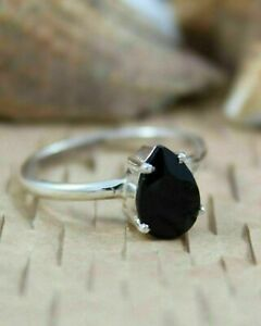 0.50Ct Pear Cut Black Diamond Solitaire Engagement Ring 14k White Gold Finish