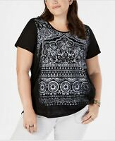 Style & Co. Womens T-Shirt Scoop Neck Short Sleeve Graphic Mandalla Black 3X New