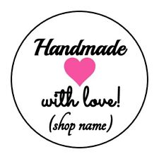 """PERSONALIZED HANDMADE WITH LOVE STICKER LABEL ENVELOPE SEAL 1.2"""" OR 1.5"""" ROUND"""