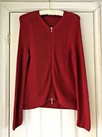 Peter Hahn Womens Dark Red Cardigan Double Ended Zip Up Cotton Blend Size UK 14