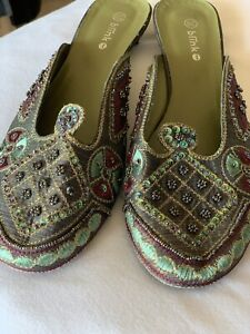 Moroccan Turkish Embroidered Sequin Beaded Flat Slip On Shoes Slippers 38/39 5/6