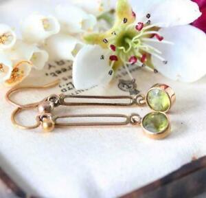Fine Antique Edwardian 9ct Gold & Green Paste Earrings