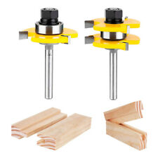 "T-type3-tooth Mortise Knife 1/4"" Shank 2 Bits Tongue and Groove Router Bit Set"