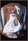 Primitive Handmade Grandma s Old Brown Teddy Bear with Old Fashion Tag