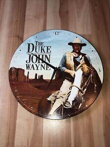 """John Wayne 13.5"""" Cordless Wood Wall Clock Used."""
