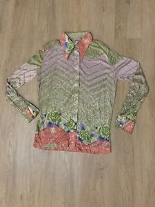 Vintage  Retro 70/'s Polyester Grid Allover Pattern Disco Collar Long Sleeve Tie Waist Button Up Crop Top T Shirt Blouse