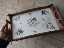 Vintage tray ancien plateau desserte art deco en faience decor fleurs