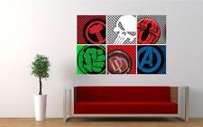 SUPERHERO logos wall sticker boys bedroom decal Marvel Avengers Hulk Spiderman