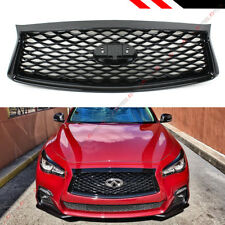 FOR 18-2020 INFINITI Q50 GLOSSY BLACK OUT FRONT BUMPER UPPER GRILLE REPLACEMENT
