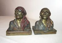 pair of antique Paul Herzel pirate patinated bronze clad figural bookends busts