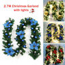 9ft Christmas Garland w/ 50 LED Light Pre-Lit Xmas Fireplace Pine Wreath Decor