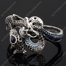 Snake Skeleton skull Halloween Black rhinestone exotic crystal bracelet bangle