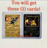 Pokemon Charizard Base Set, Gold Star Set, Black Gold Metal Custom Cards