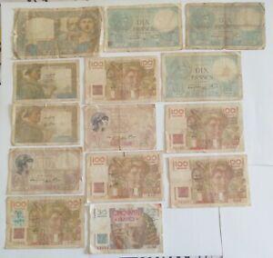 Banque de France lot N°9 - lot de 14 billets divers