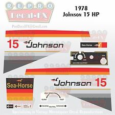 1978 Johnson 15 HP Outboard Reproduction 18 Piece Marine Vinyl Decal Sea-Horse
